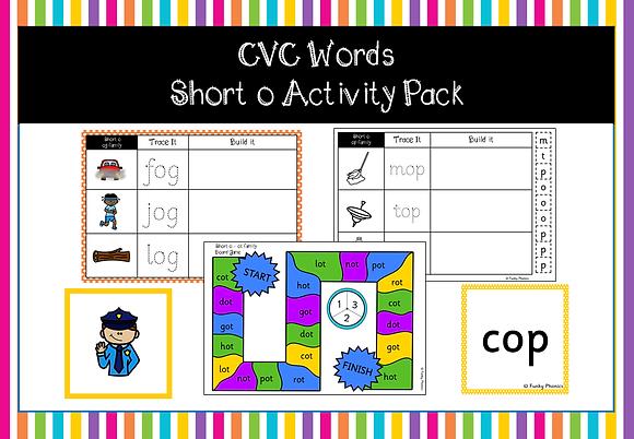 CVC Words - short o activity pack