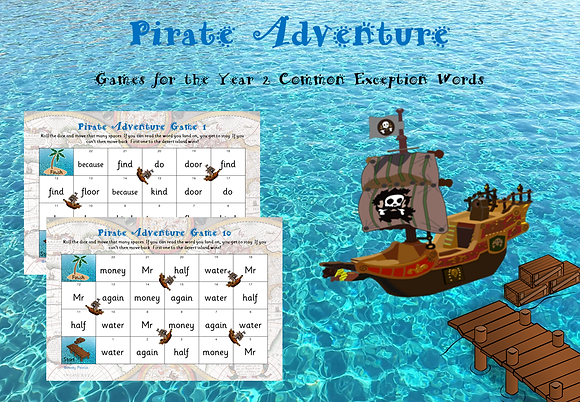 Year 2 Common Exception Words - Pirate Adventure Games