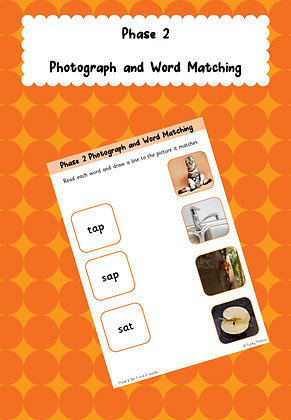 Phase 2 Photo and Word Matching Worksheets