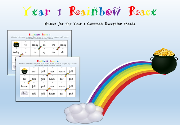 Year 1 Common Exception Words - Rainbow Race Game