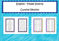 English  tolsby frame inserts - cursive.