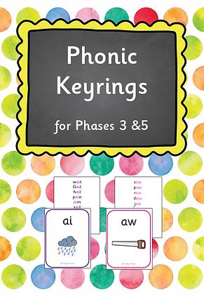 Phase 3 & 5 - Phonic keyrings