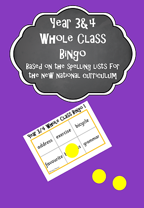 Year 3/4 Common Exception Words - Whole Class Bingo