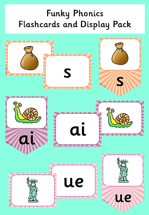 Funky Phonics Flashcards and Display Pack