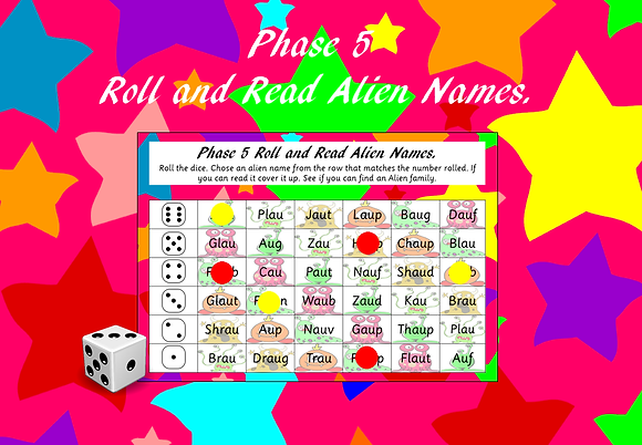 Phonics Screening  - Phase 5 Roll and Read Alien Name