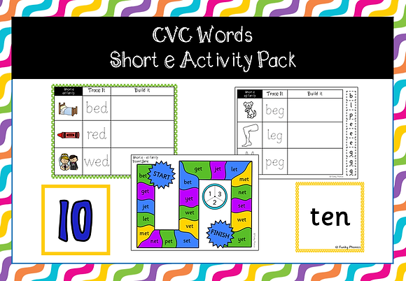 CVC Words - short e activity pack