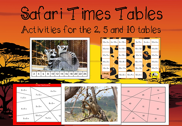 Multiplication activities for 2s, 5s, 10s