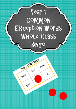 Year 1 Common Exception Words - Whole Class Bingo