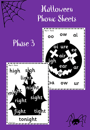 Halloween Themed - Phase 3 Phonic Sheets