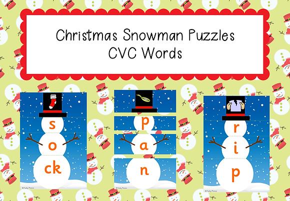 Christmas Themed - CVC Snowmen Puzzles