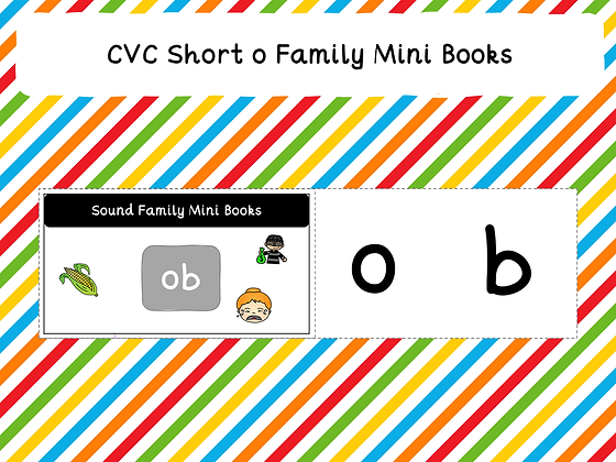 CVC Short o Family Mini Books