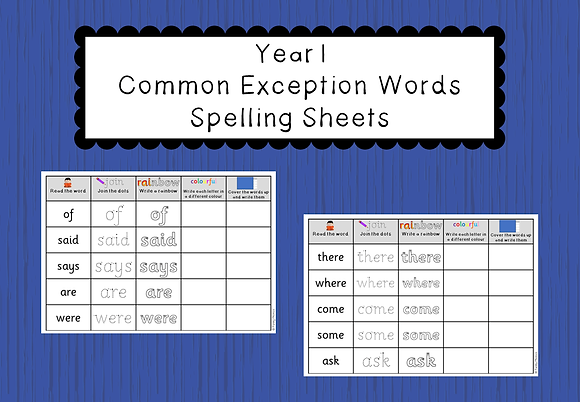 Year 1 Common Exception Words - Spelling Sheets