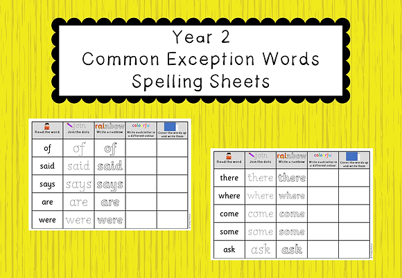 Year 2 Common Exception Words - Spelling Sheets
