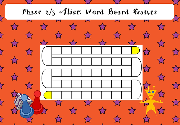 Phonics Screening - Phase 2/3 Alien Word Board Games
