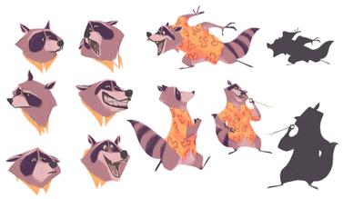 Raccoon character design