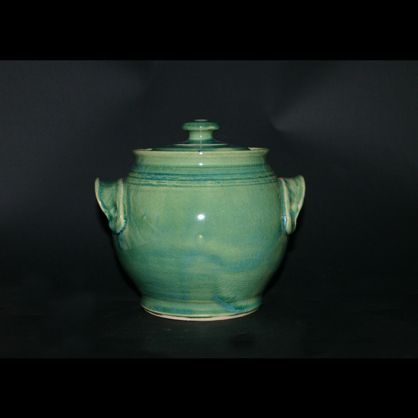 lidded blue green canister