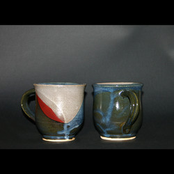 2 cups satin red & blue