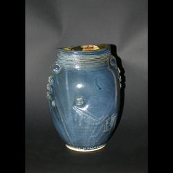 mediterranean blue oval vase