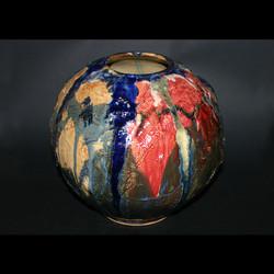 round multi color vase