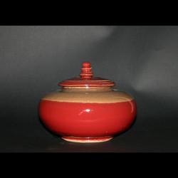 cream & red vase