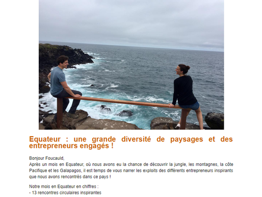 Newsletter #3 Equateur !