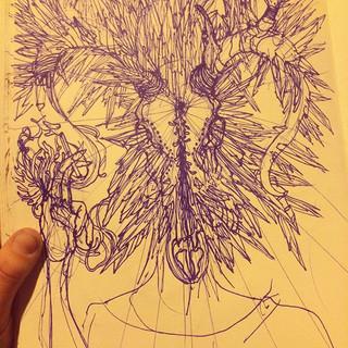 crystal doodles #skull #sketch #pen #con