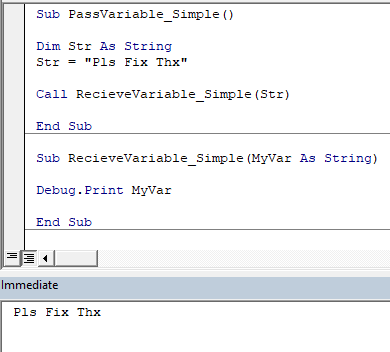 send variable to a sub in vba