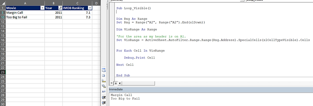 Loop visible rows in filter vba