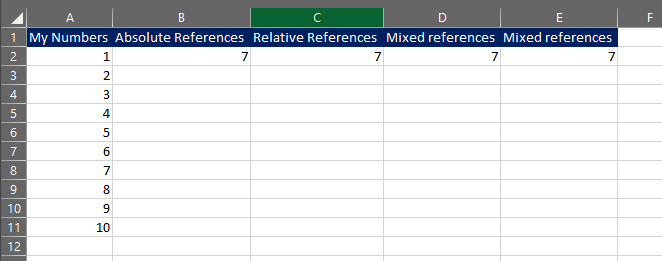 formula worksheet absolute or relative references