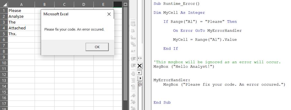 how to handle vba errors
