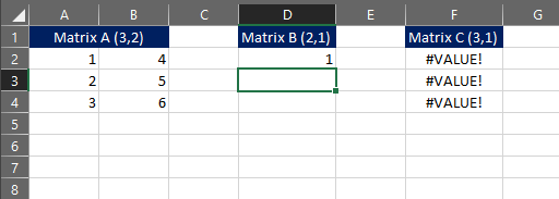 matrix multiplication error