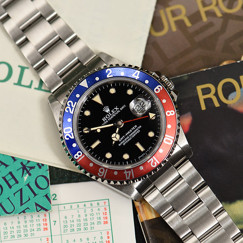 1991 Rolex 16700 GMT Master Pepsi. Full Set.