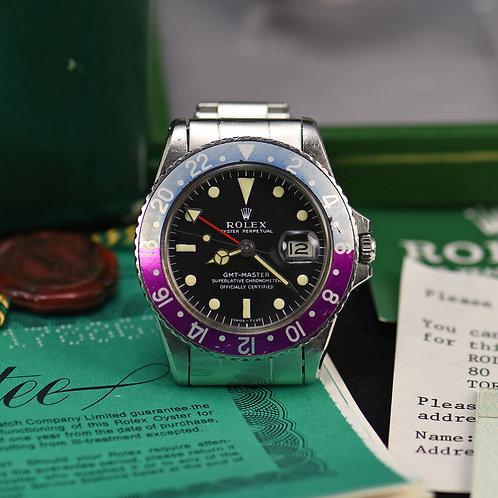1968 Rolex 1675 GMT Master MKI Long E Dial Fuchsia Bezel. Full set