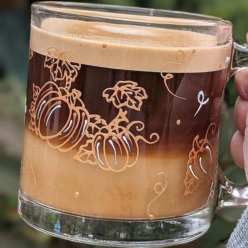 Tasse en verre - Citrouilles automnales