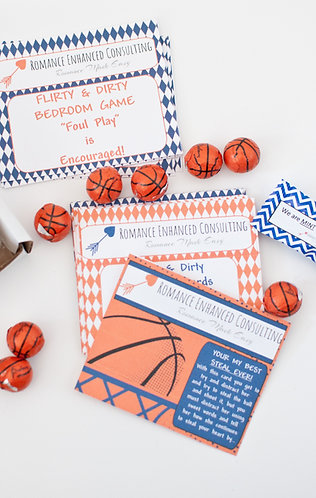 The Flirty & Dirty Bedroom Game to spoil couples with a night of romance and fun, gift for his birthday, DIY Basketball gift