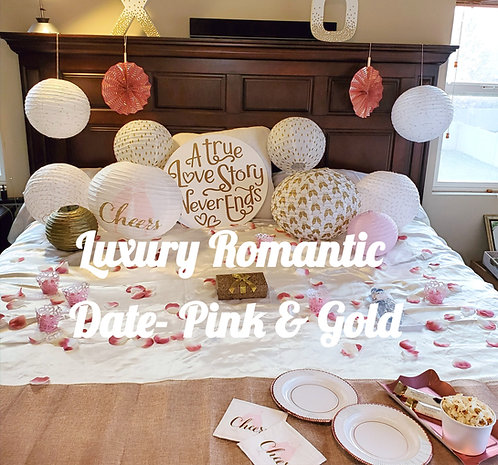 Get a Luxury Romantic Anniversary Date and Romantic Room Experience Set up for you by a Romance Coach, with  pink and gold