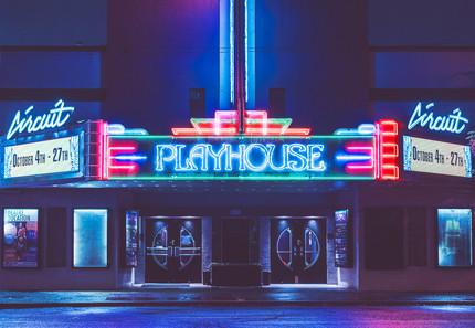 Circuit Playhouse Memphis Building at Night. Midtown Memphis Tennessee.