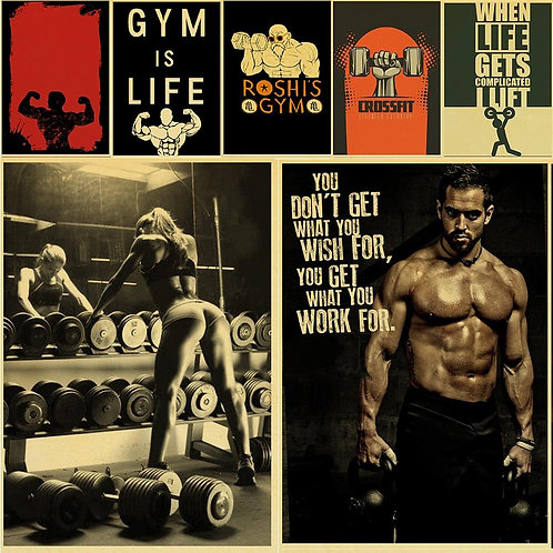 Diverse Cartoon Forms Fitness Bodybuilding Muscle Art Painting