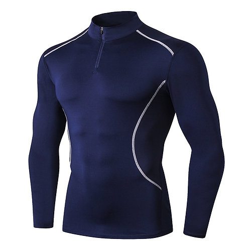 Running Shirt Gym Rashguard for Men Stand Collar Long Sleeve Fitness Hombre