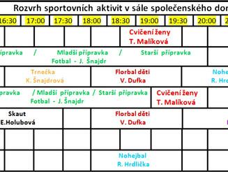 Aktualizovaný rozvrh sportovních aktivit ve Společenském domě