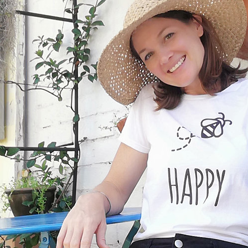 Soft cotton bee happy tee