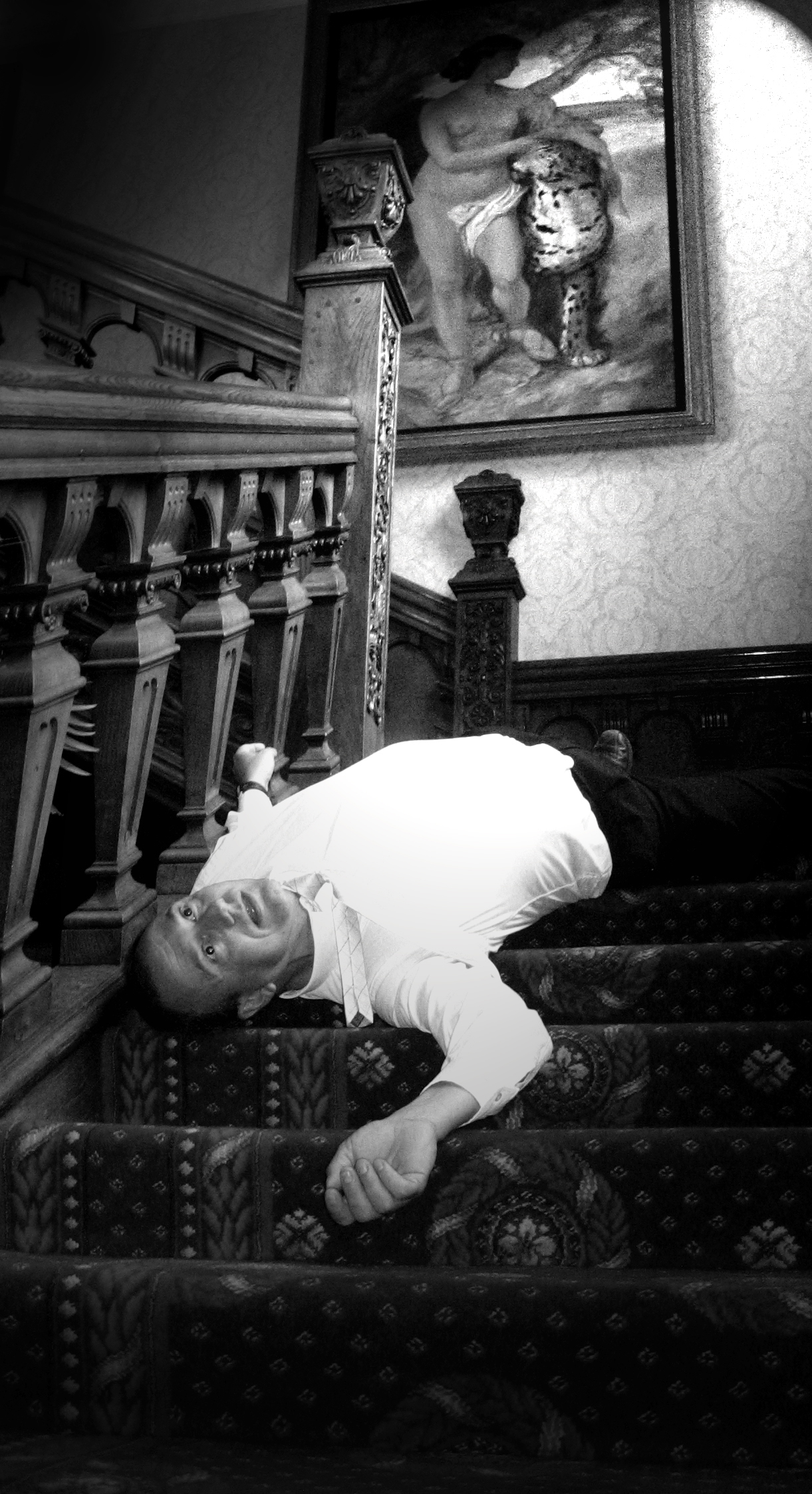 Playing Dead Murder Mystery Body on the Stairs.jpg