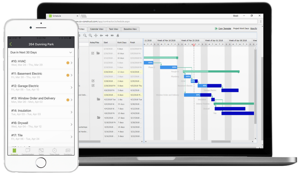 CoConstruct Schedule on desktop and mobile