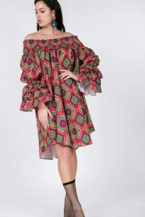 Red/Green Babydoll Off The Shoulder Fluted Sleeves Dress