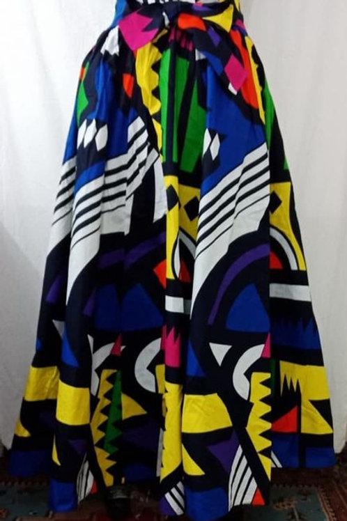 Royal Multi Color Geometric Printed A-Line Brush Cotton Skirt W/t Side Pockets