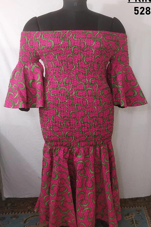 Pink/Green Cinched Gored Dress