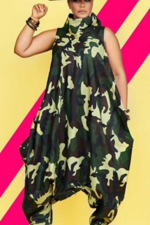 Camouflage Oversize, Unstructured Zipperumpsuit W/t Bottom Zipper For a Dress