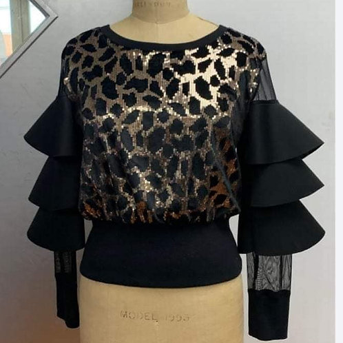 Black/Gold Sequin Top W/t Layered Sleeves