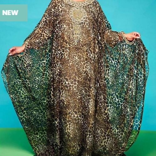 Olive Patterned Caftan W/t Beaded Embellishments