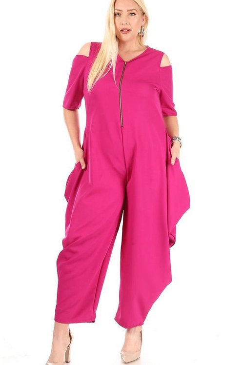 Fuchsia Cold Shoulder Jumpsuit  W/t Kangaroo Pockets